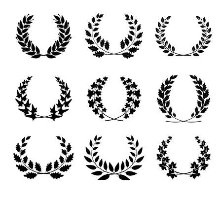 Award wreath collection. Vector decoration elements. Round foliate frames for certificate design, achievement, anniversary or heraldic emblems ..