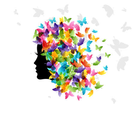 Woman with hair from butterflies. Vector isolated decoration element from scattered silhouettes. Conceptual illustration of beauty and style ..