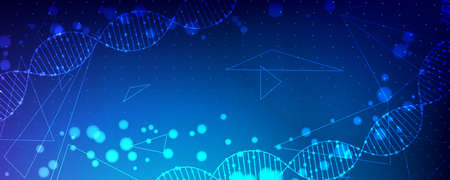 Technology and biology abstract background with dna, molecules and digital structure. Medical data  illustration. Vettoriali