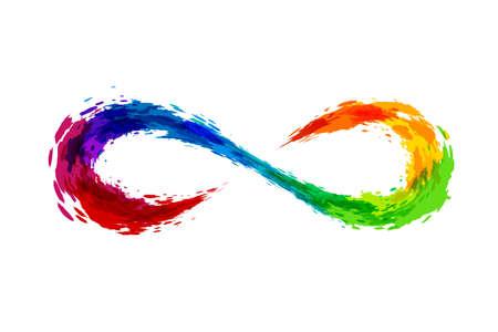 Rainbow splash  illustration. Infinity sign.