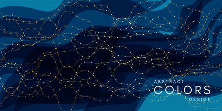 Abstract wavy background. Motion style horizontal banner with layout dark blue texture.