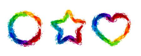Rainbow splash  illustration. Circle, star, and heart frames. Vettoriali