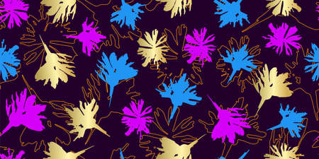 Fabric seamless illustration. Pattern with hand drawn elements. Purple, gold and blue flowers on the dark background Vettoriali
