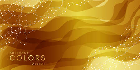 Abstract wavy background. Motion style horizontal banner with layout dark gold texture.