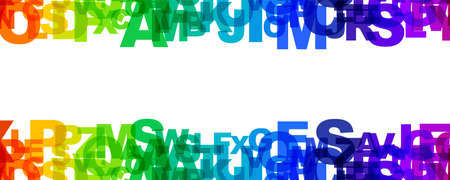 Rainbow letters  illustration. Horizontal background with copy space