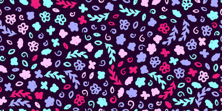 Fabric seamless illustration. Pattern with hand drawn elements. Gentle color flowers on the purple background Vettoriali