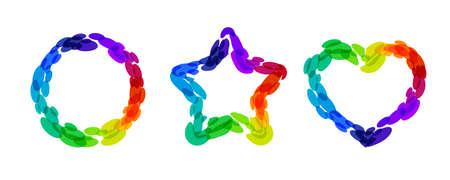 Rainbow illustration. Circle, star, and heart frames.