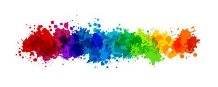 Rainbow splash  illustration. Horizontal border