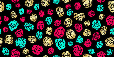 Fabric seamless illustration. Pattern with hand drawn elements. Red, gold and blue roses on the dark background