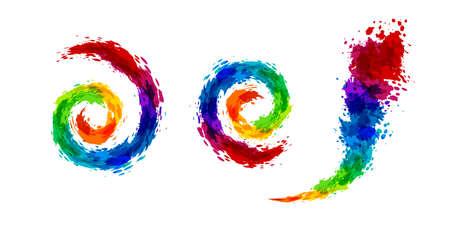 Rainbow splash  illustration. Swirl and wavy curves