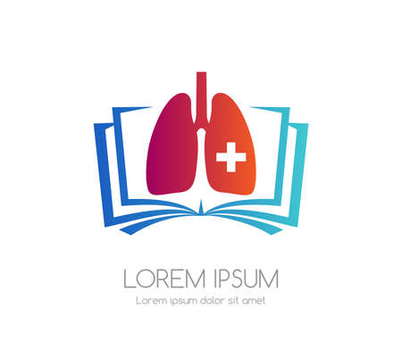 Lung with cross and book. Medical emblem. Health care vector icon. Vectores