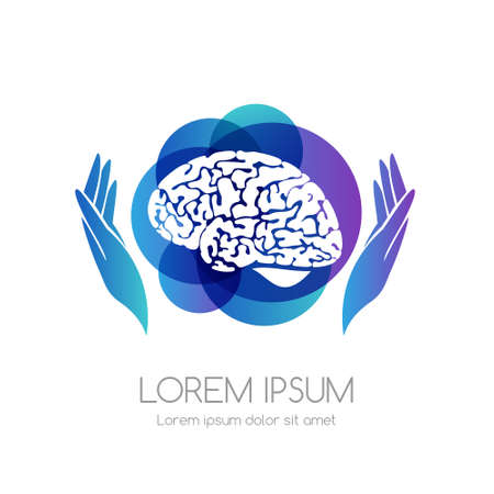 Brain with hands and blue abstract shape. Medical emblem. Health care vector icon.