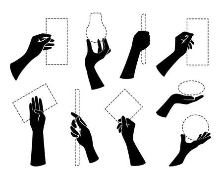 Hands holding objects. Arm pose collection. Vector design elements. Isolated silhouettes.