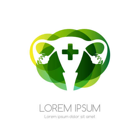 Uterus with cross and green abstract shape. Medical emblem. Health care vector icon.