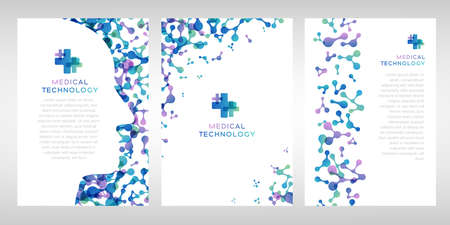 Medical technology posters. Vector illustration with molecules texture and human head. Pharmacy, biotechnology or laboratory concept.