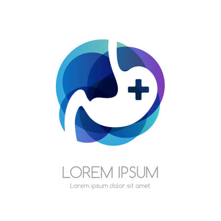 Stomach with cross and blue abstract shape. Medical emblem. Health care vector icon.