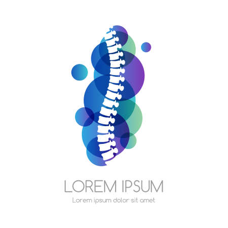 Spine with blue abstract shape. Medical emblem. Health care vector icon.