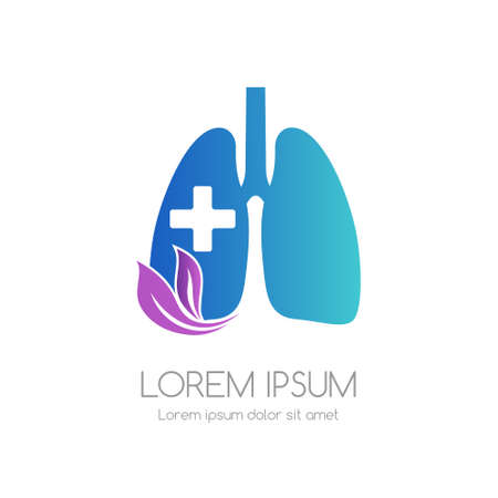 Lung with cross and leaves. Medical emblem. Health care vector icon. Vectores