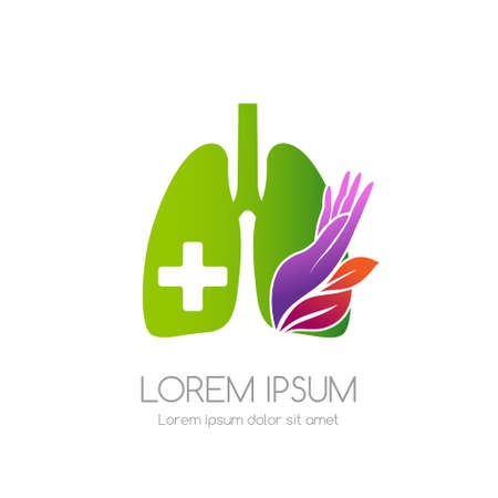Lung with cross, leaves and care hand. Medical emblem. Health care vector icon.