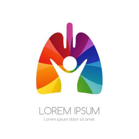 Lung with man and rainbow texture. Medical emblem. Health care vector icon.