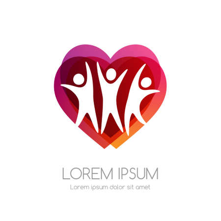 People and red heart shape. Medical emblem. Health care vector icon.