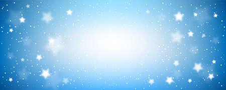 Starry night background. Blue evening sky horizontal banner.