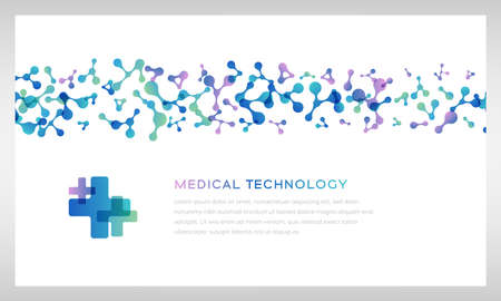 Medical technology banner. Vector illustration with molecules texture. Pharmacy, biotechnology or laboratory concept.