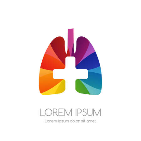 Lung with cross and rainbow texture. Medical emblem. Health care vector icon.