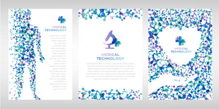 Medical technology banners. Vector illustration with molecules texture, human body and hand holding heart. Pharmacy, biotechnology or laboratory concept.