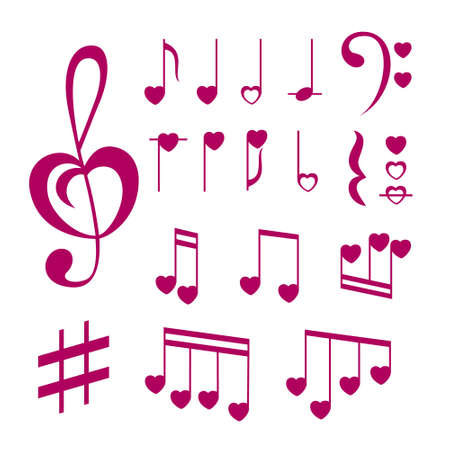 Romantic music notes collection. Vector decoration elements.