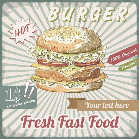 Retro Fast Food banner Vector