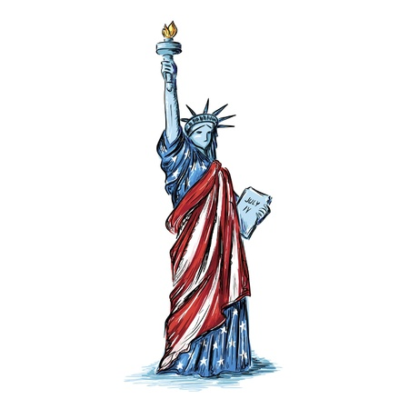 Statue of Liberty (usa flag colors) Vector
