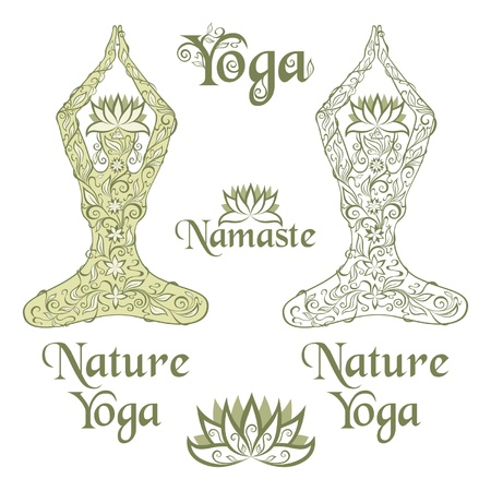 Nature Yoga elements Vector