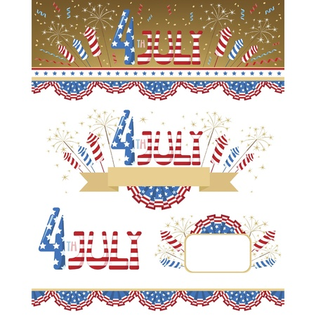 Set of decorative elements for independence day USA  Vector