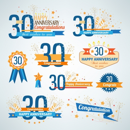 Set of happy anniversary labels  Vector
