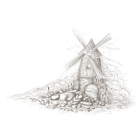 Still life with bread and windmill Vector