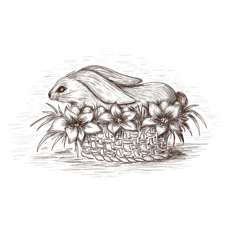 Easter rabbit in the basket with flowers and eggs Vector