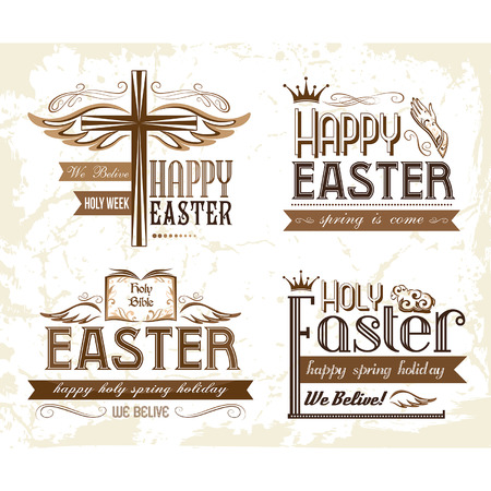 Set of easter typography elements Vector