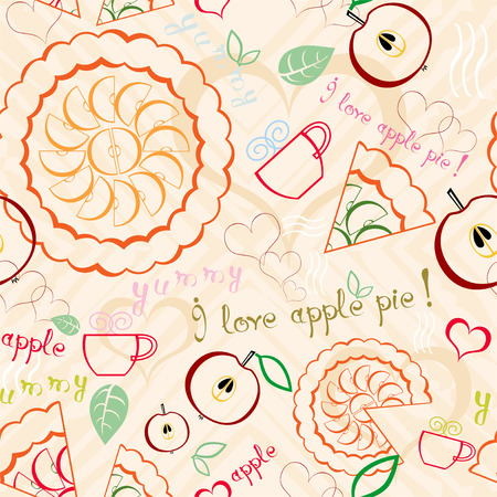 Seamless line art pattern with apple pies, cups of tea, hearts, some text and other decorations Vector
