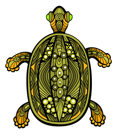 Fancy funny turtle drawn in stained glass style Vector