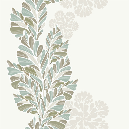 repetition: Decorative Leaves Vertical Seamless Pattern