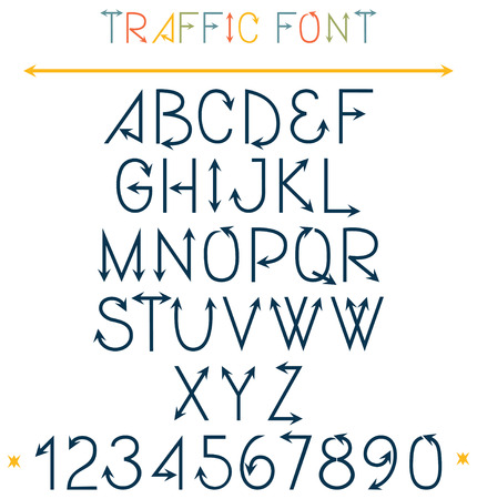 western script: Traffic Font Letters. ABC letters with arrows traffic concept. Alphabet in exact style. Capital letters. Isolated on white.