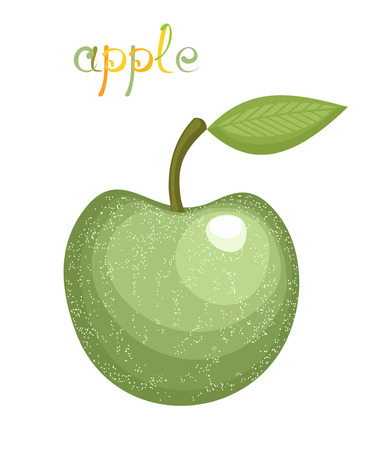 granny smith apple: Green Apple. Illustration of big fresh green apple with leaf. Clip art with title. Isolated on white.