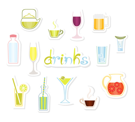 Drinks Icons. Various drinks icons. Collection of labels with different beverage foods. Cute hand drawn text. Set of isolated design elements. White background. Vector