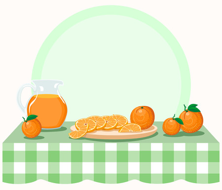 Oranges on checkered tablecloth. Illustration with whole and segmented oranges, juice in pitcher on checkered tablecloth. Vector