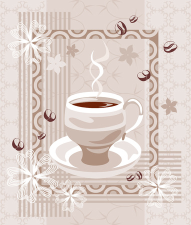 creamy: Coffee creamy composition.  Illustration with abstract cup of coffee, with silhouettes of beans and flowers on complex beige ornate background.