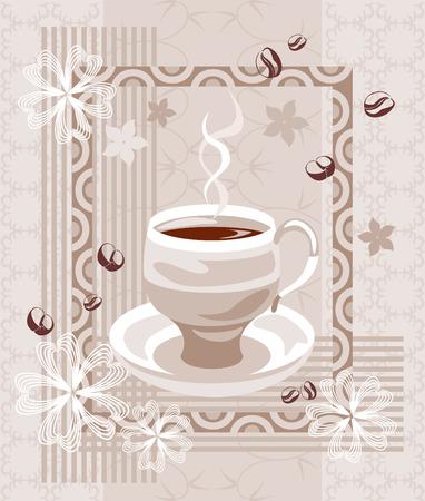 cremoso: Composi��o do caf� cremoso. Ilustra��o com abstrato x�cara de caf�, com as silhuetas de feij�o e flores no complexo bege fundo ornamentado.