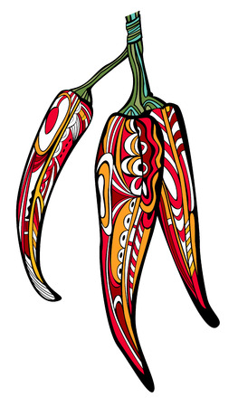 Trio of decorated chili peppers. Drawn with pattern in stained glass style. Illustration