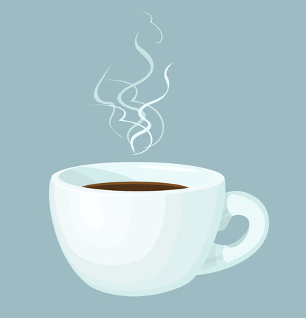 Cup of hot coffee with abstract steam. Isolated design element.