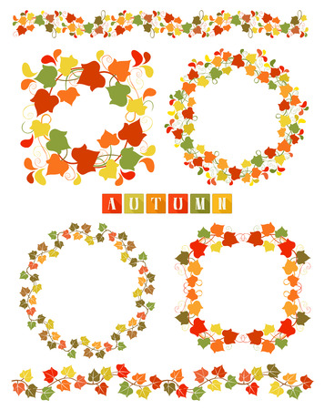 Set of wreaths with colorful Autumn leaves  Set of isolated design elements. Vector